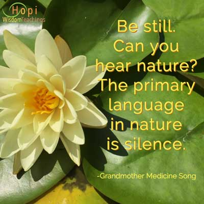 """white water lily with quote by Grandmother Medicine Song, """"Be still. Can you hear nature? The primary language in nature is silence."""
