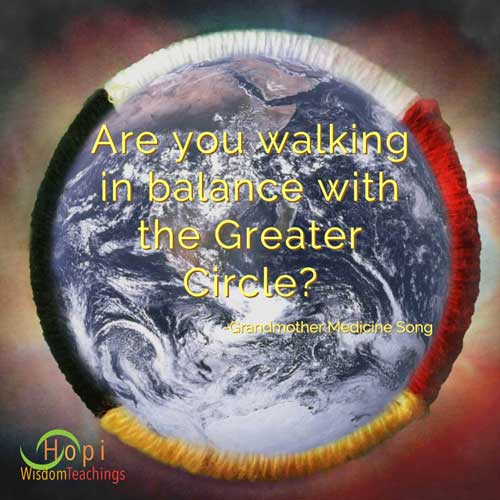 """Are you walking in balance with the greater circle?"" quote by Grandmother Medicine Song composite image of Earth withing medicine wheel by barbaraleeblack.com"