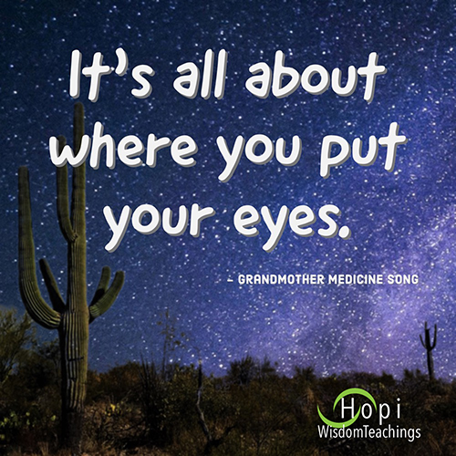 """It's all about where you put your eyes.""- Grandmother Medicine Song"
