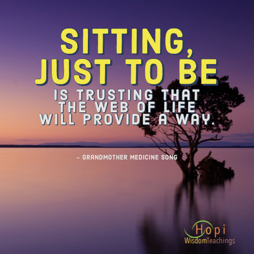 """Sitting, just to be is trusting that the web of life will provide a way."
